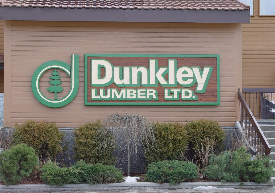 Sandblasted Signs - Dunkley Lumber